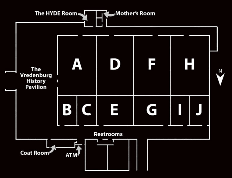 Layout of the different rooms in the conference center