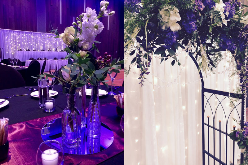 Floral decorations at two different events